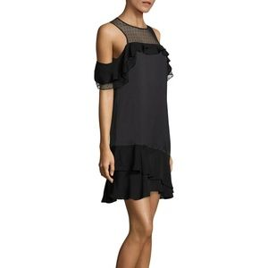Parker Quinn Ruffle Cold Shoulder Dress Black
